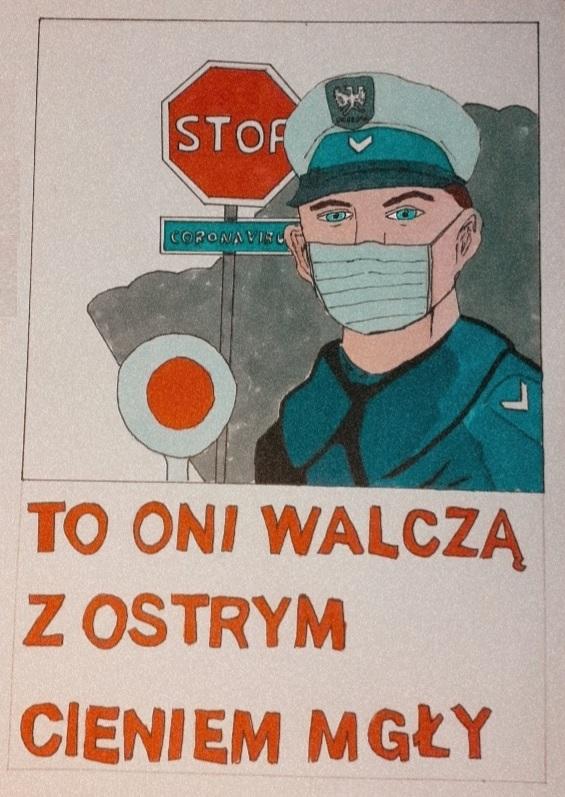 """Dawid Bednarski laureatem konkursu  plastycznego """"Policja w  wale z COVID-19""""."""