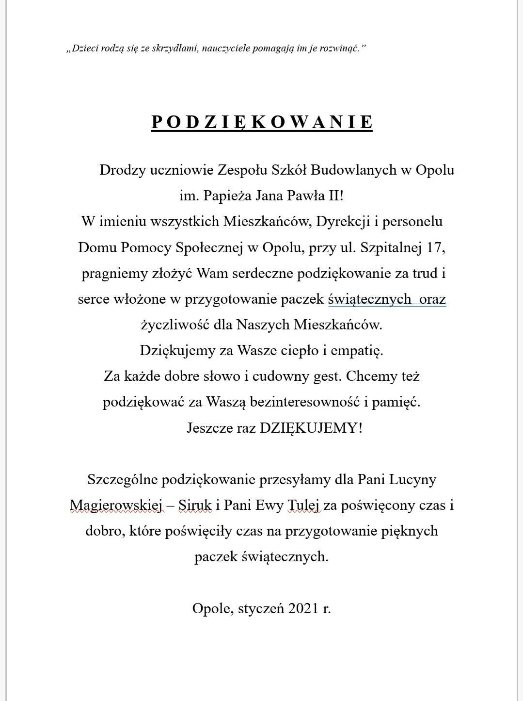 Podziękowania od DPS w Opolu