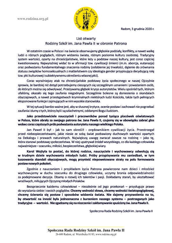 List otwarty Rodziny Szkół im. Jana Pawła II w obronie Patrona